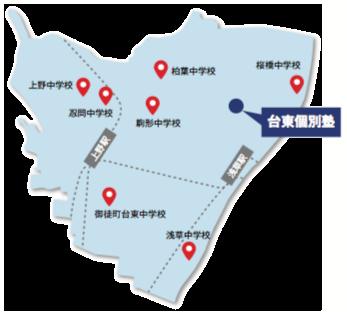 台東区の中学校と台東個別塾の地図